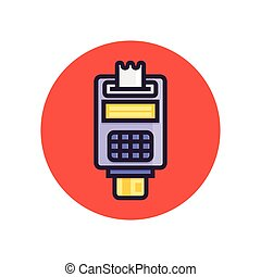 Pos terminal. Point of sale concept payment by credit card....