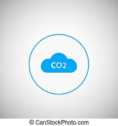 CO2 emissions icon. CO2 cloud in flat design