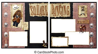 Square Dancing Scrapbook Frame Template - Square Dance Theme...