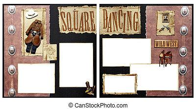 cuadrado, bailando, álbum de recortes, marco,...
