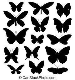 Butterflies silhouette set