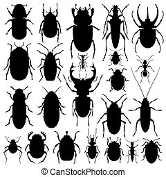 Beetles silhouette set - Illustration of beetles...