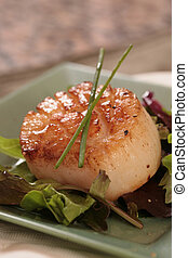 Scallop on a Green Plate Dressed With Chives and Lettuce -...
