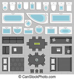 Furniture top view - Furniture elements in top view vector...