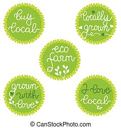 Buy local, Locally Grown, Eco farm. Stamps, badges, labels for farmers market, local business, shop, branding, food store, harvest festival, design, package. Set.