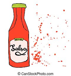 Salsa sauce bottle with splashes and hand drawn letters. Hot spicy red dressing jar. Vector illustration.