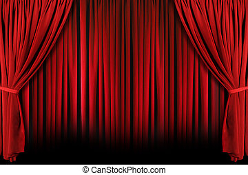 Red Theater Drapes With Dramatic Light and Shadows - Red...