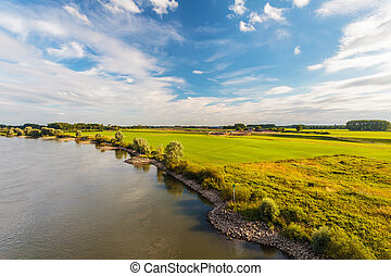 The old Dutch river IJssel in the province of Gelderland...