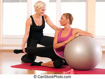 trainer, portie, vrouw, Oefening, Bal