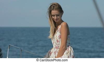 Girl model relaxing on a yacht - Girl model relaxing on a...