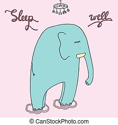 Sleeping elephant. Artistic vector drawing. Graphic isolated object. Good night  illustration