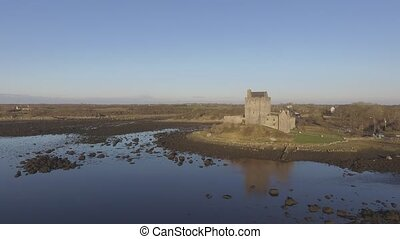 Aerial Dunguaire Castle Evening Sunset, near Kinvarra in...