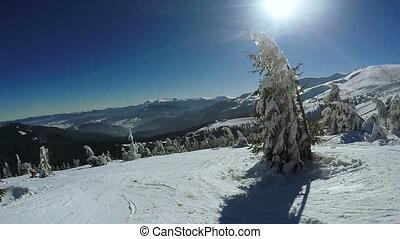 Fall of skier on ski - Dynamic Steadicam accompanies the...