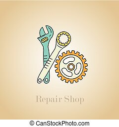Repair shop icon. Auto parts and accessories.