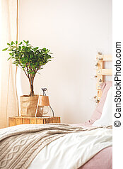 Nightstand with plant and lamp - Nightstand with plant and...