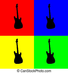 Guitar - Silhouette of electric guitar in black over four...