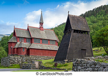 Borgund old wooden bell tower - Old wooden bell tower, part...