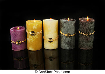 Feng Shui candles - Group of burning five Feng Shui candles...