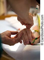 pacientes, gotejamento, mão