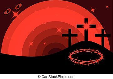 Easter - Golgotha, three crosses - Three crosses standing on...