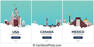 USA, Canada, Mexico. Time to travel. Set of Travel posters. Vector flat illustration.