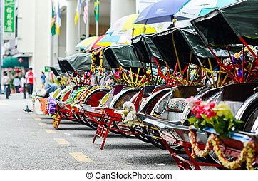 Vintage Trishaw stop beside road for service traveller -...