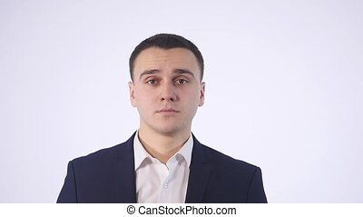 man in the jacket on a white background in which throw...