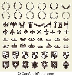 Heraldry kit of knight blazons and coat of arms elements -...