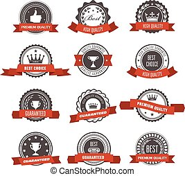Emblems, badges and stamps with ribbons - awards and seals...