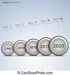 Time line info graphic with round labels in a row vector eps...