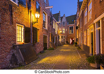 Historic alley in Middelburg, The Netherlands at night