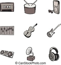 Playing song icons set, gray monochrome style