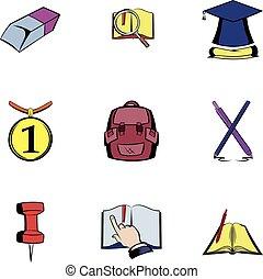 Education icons set, cartoon style