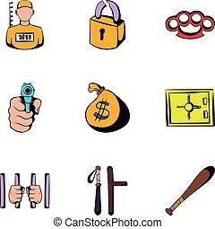 Criminal icons set, cartoon style - Criminal icons set....