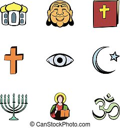Faith icons set, cartoon style - Faith icons set. Cartoon...