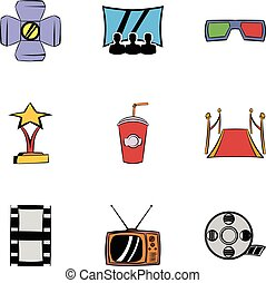 Entertainment icons set, cartoon style