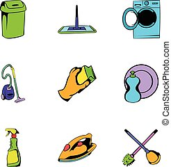 Mopping icons set, cartoon style - Mopping icons set....