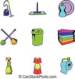 Cleanup icons set, cartoon style - Cleanup icons set....