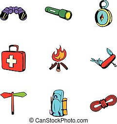 Forest leisure icons set, cartoon style