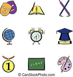 High education icons set, cartoon style