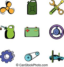 Driving icons set, cartoon style