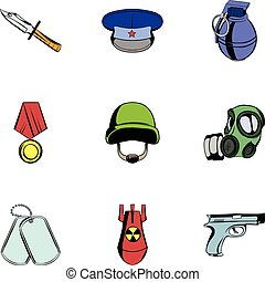 Wartime icons set, cartoon style - Wartime icons set....