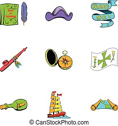pirate travel icons set, cartoon style