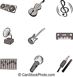Melody icons set, gray monochrome style
