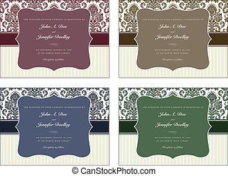 Vector Damask Frame Set with Sample Text - Vector damask...
