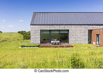 Natural stone elevation - Natural stone front house...