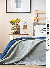 Bed and nightstand - Grey bed and small nightstand with...