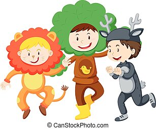 Three kids in costumes illustration