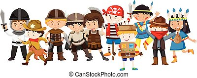 Kids in different costumes illustration