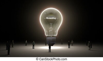 Typo 'Accounting' in light bulb and surrounded businessmen,...